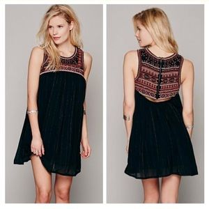 Free People Aztec Bib Beaded Embroidered Dress
